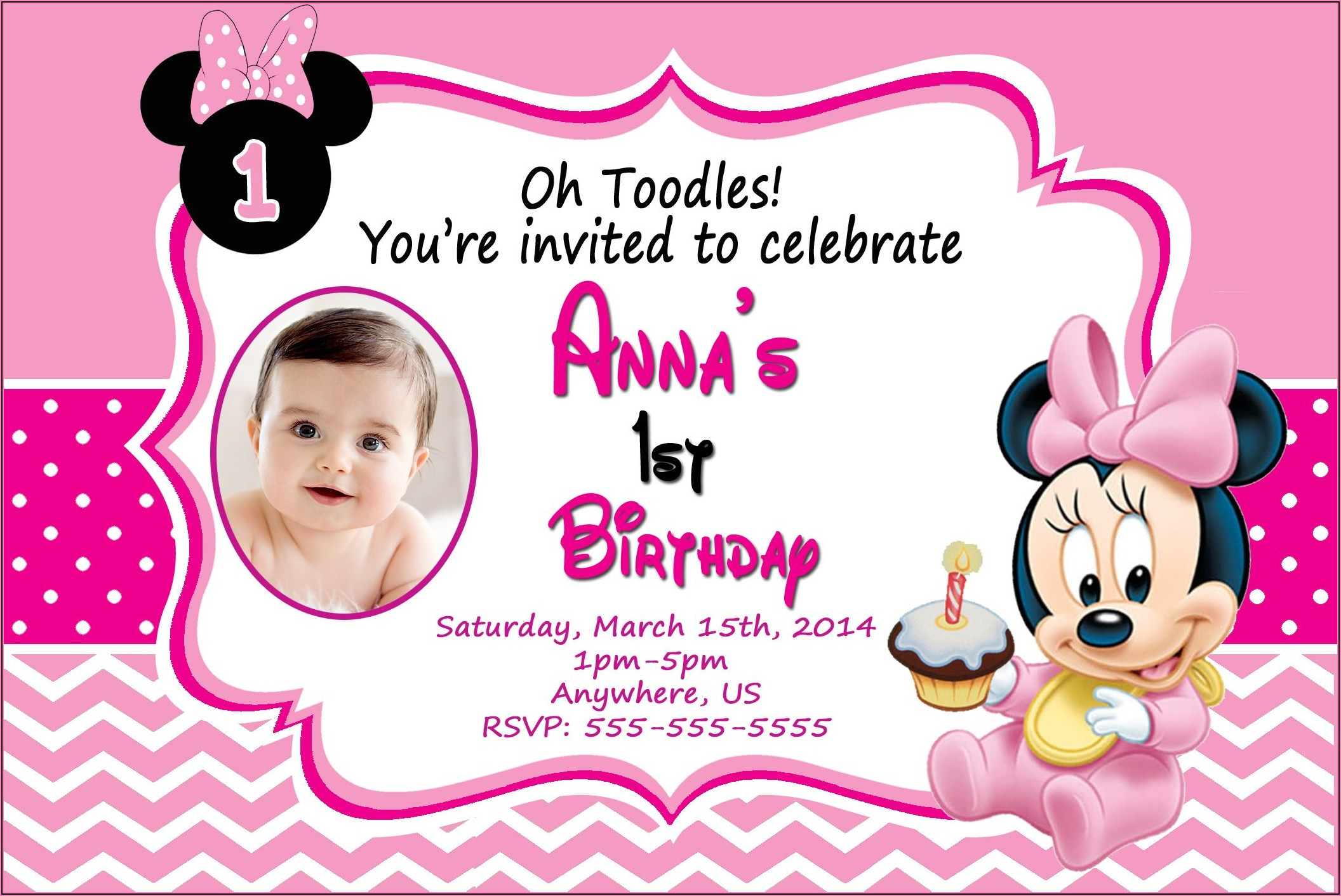 Free Printable Baby Minnie Mouse 1st Birthday Invitations