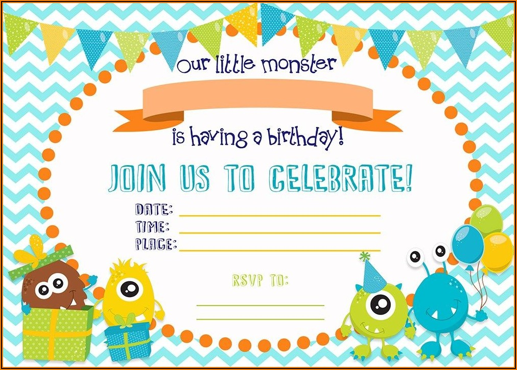 Free Printable Monster Birthday Invitations