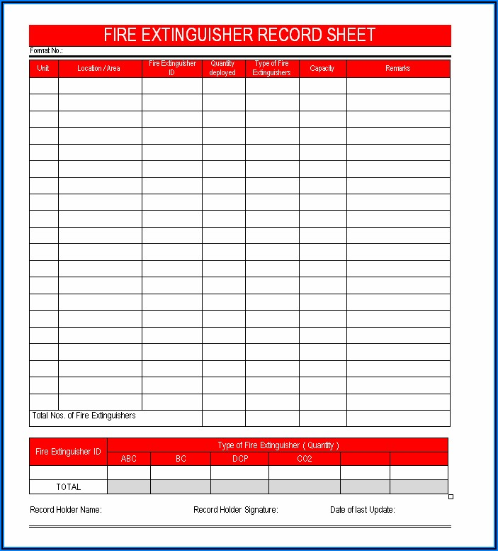 Free Printable Monthly Fire Extinguisher Inspection Form