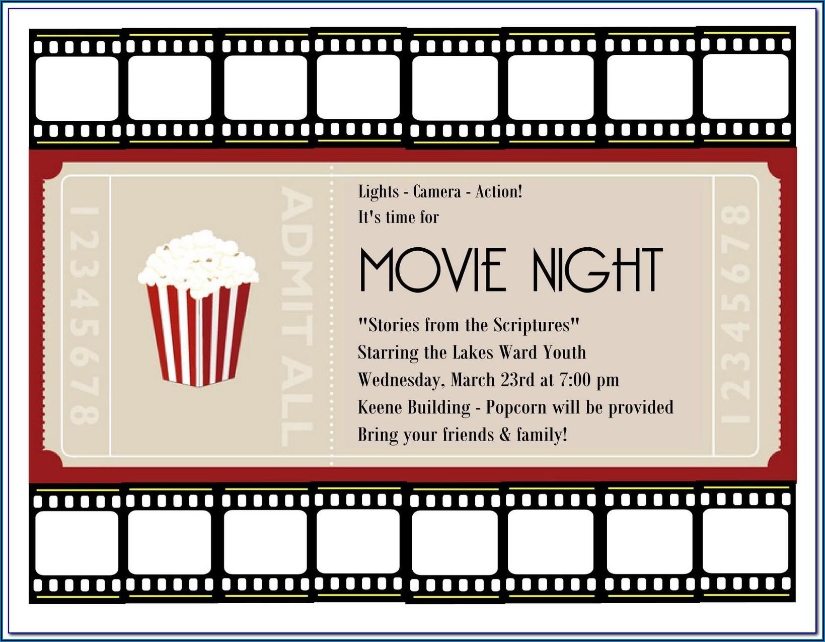 Free Printable Movie Ticket Invitation Templates