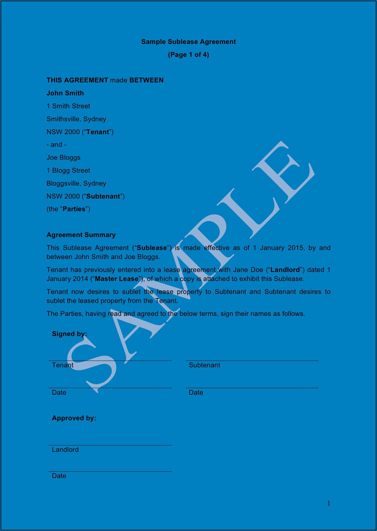 Free Sublease Agreement Template