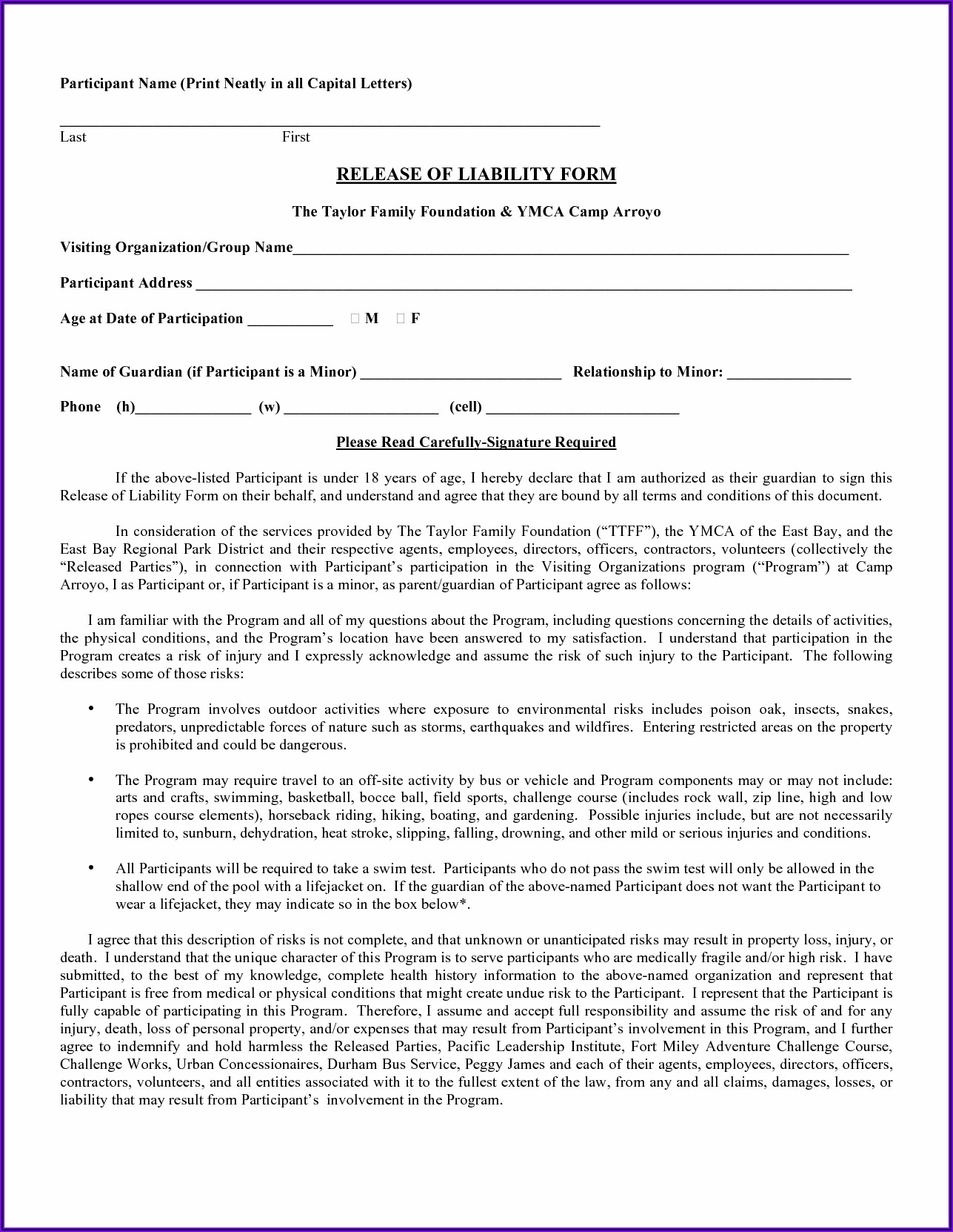 Free Swimming Pool Waiver Form