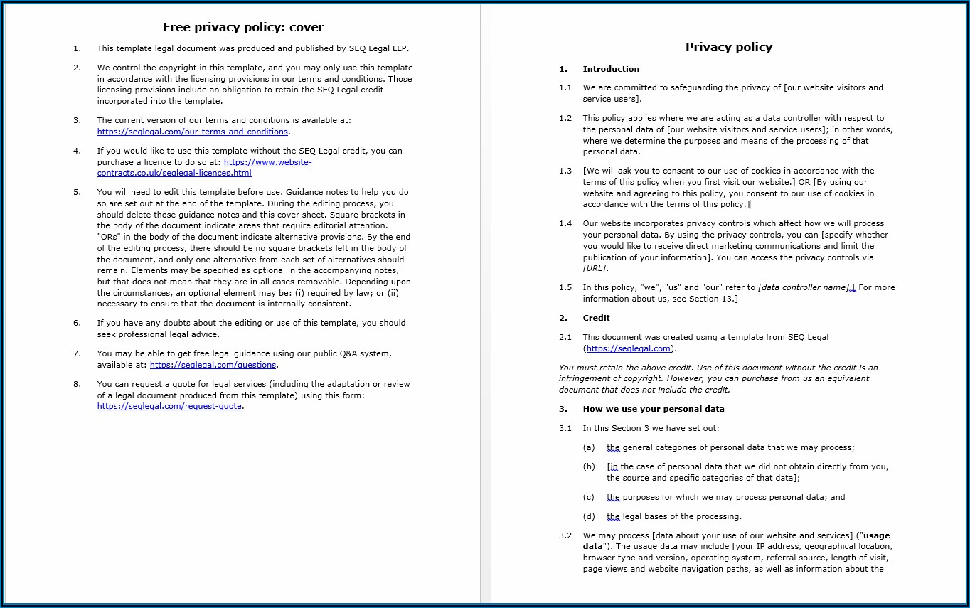 Gdpr Privacy Policy Template Free