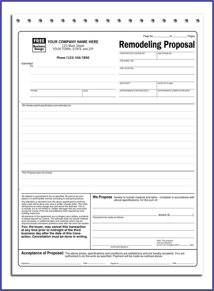Generic Construction Proposal Template