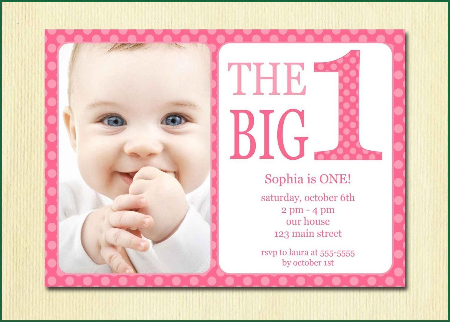 Girl Baby 1st Birthday Invitation