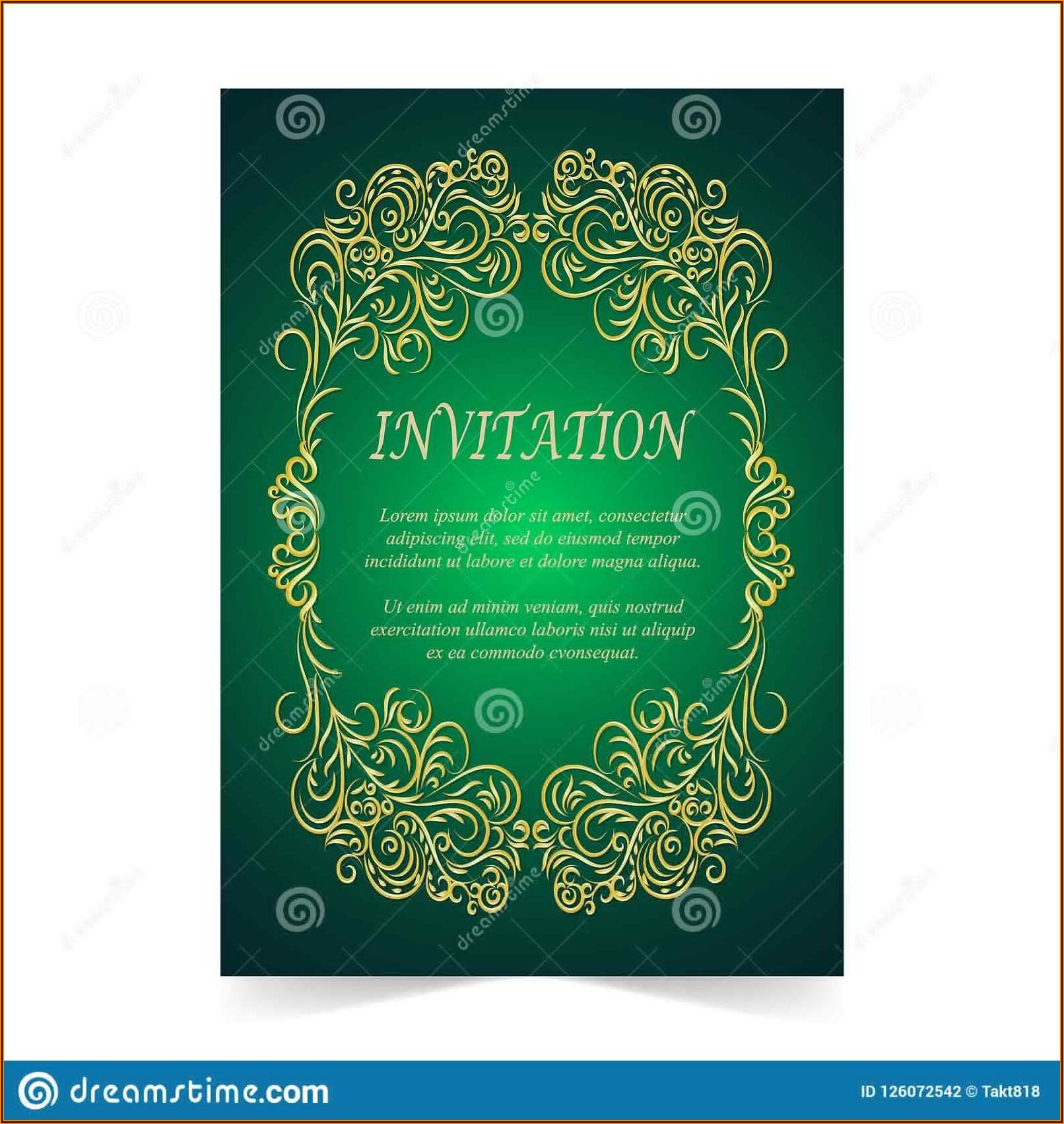 Green Wedding Invitation Background Vector