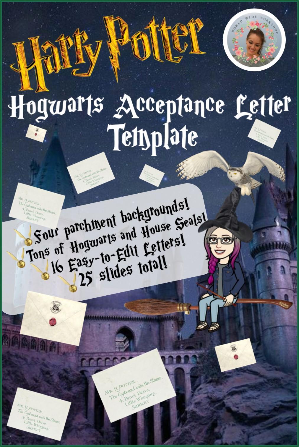 Harry Potter Acceptance Letter To Hogwarts Template