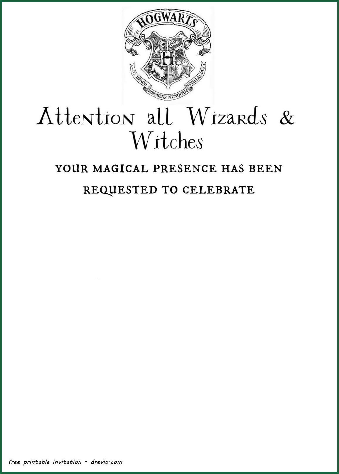 Harry Potter Invitation To Hogwarts Template