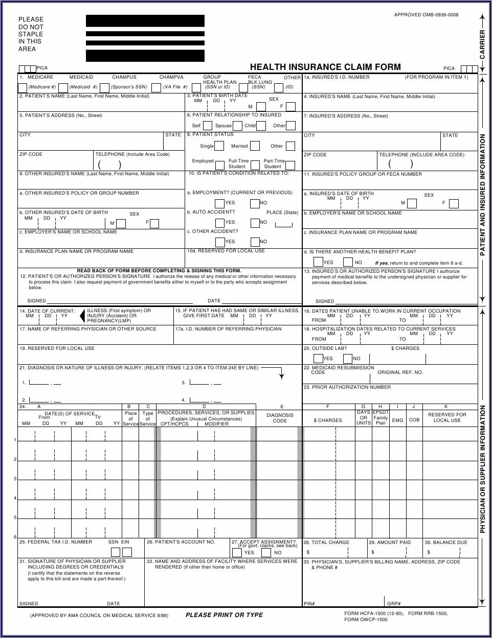 Hcfa 1500 Printable Form