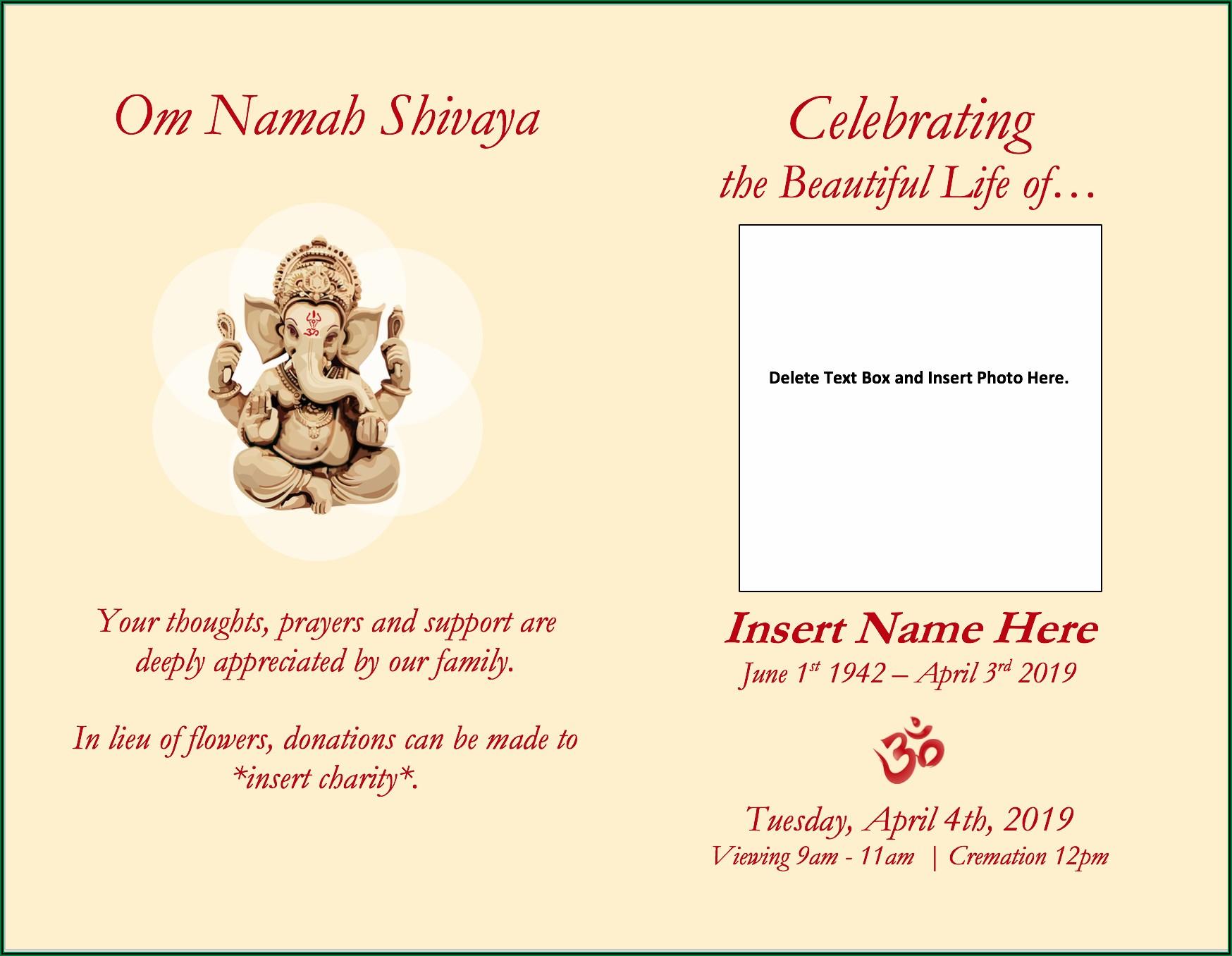Hindu Funeral Invitation Template Word