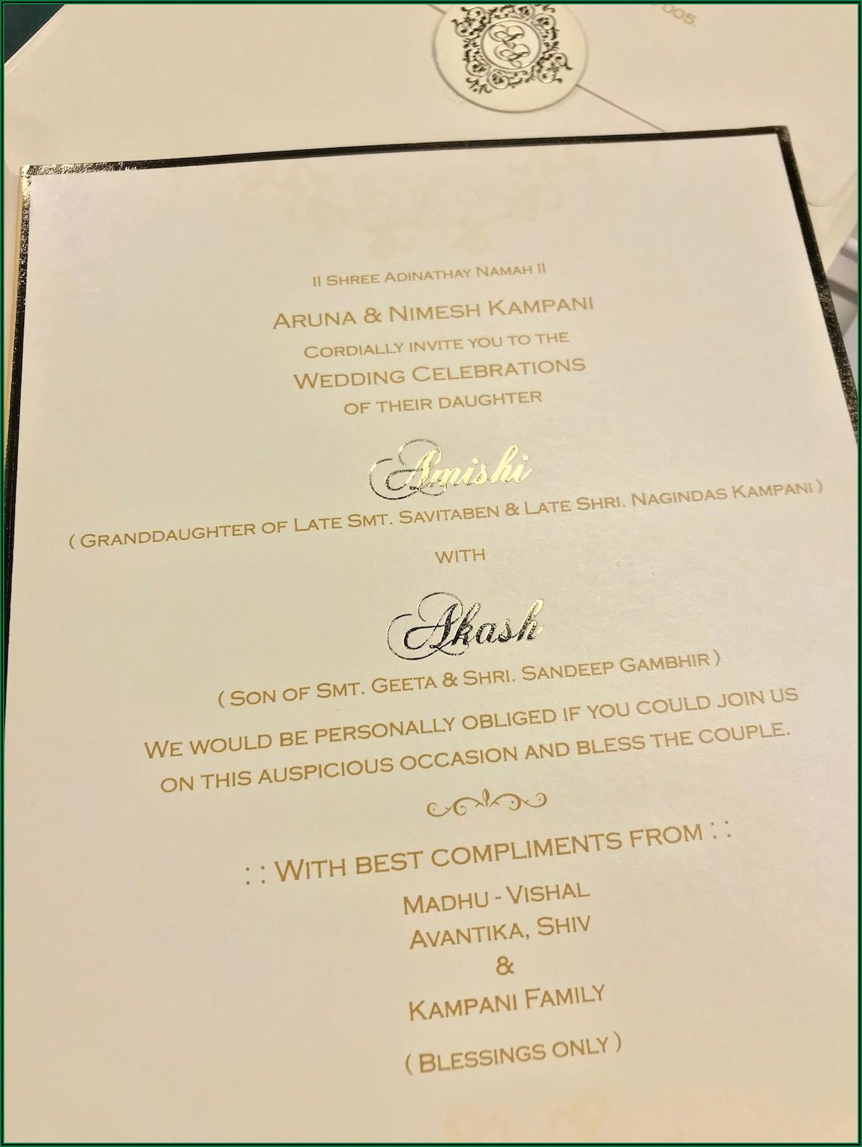 Hindu Wedding Invitation Card Format In English