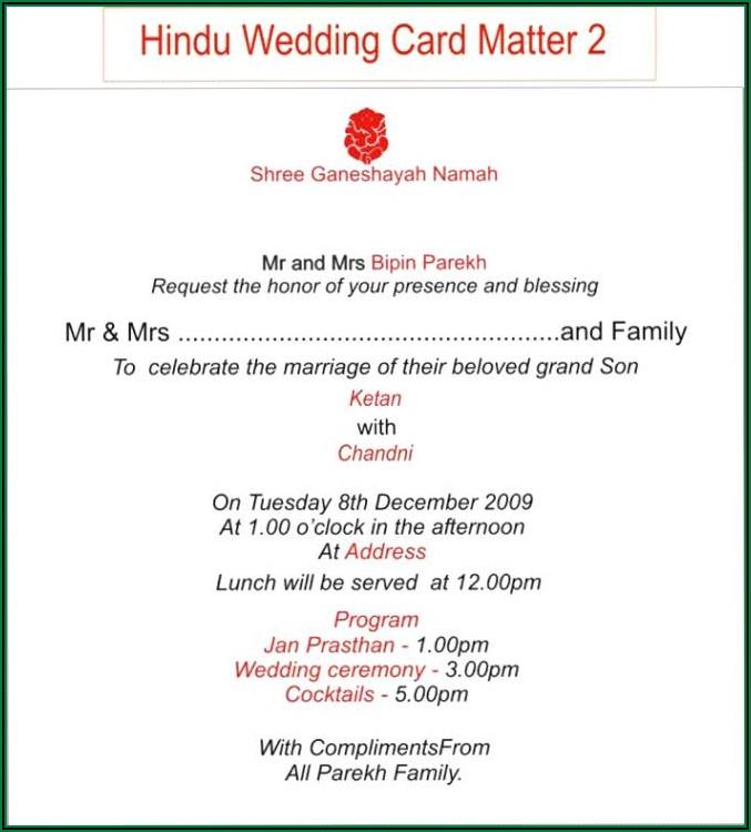 Hindu Wedding Invitation Matter In English