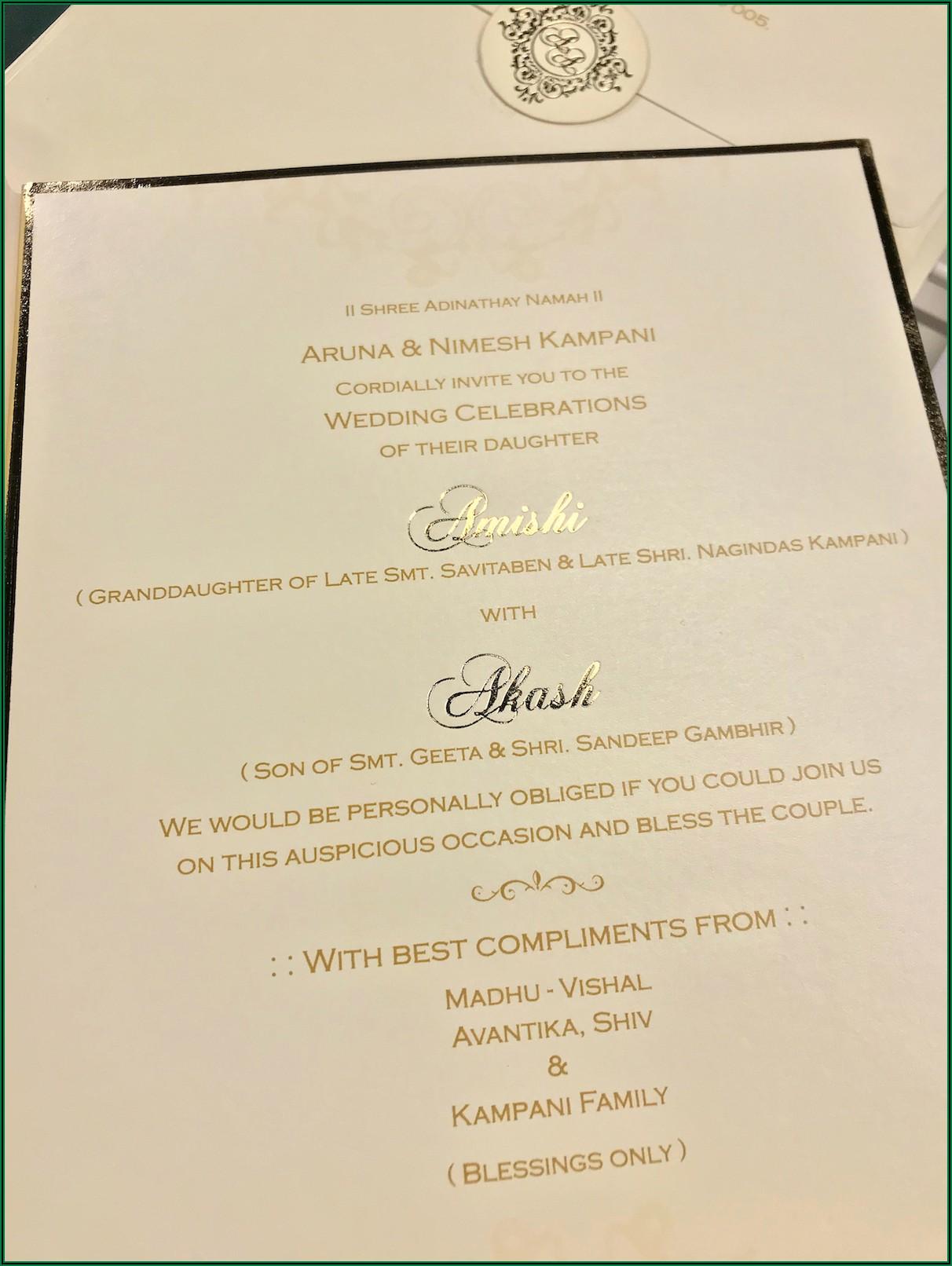 Hindu Wedding Invitation Message In English