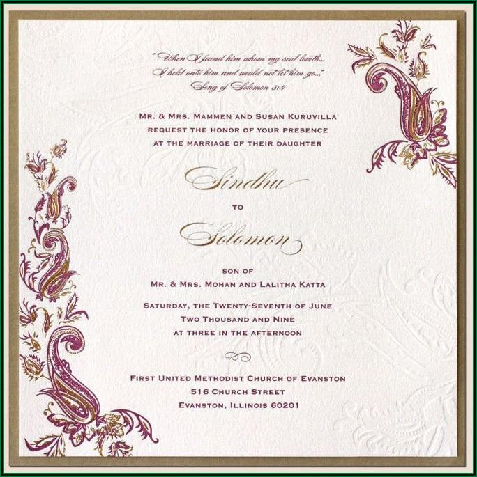 Hindu Wedding Invitation Sample In English