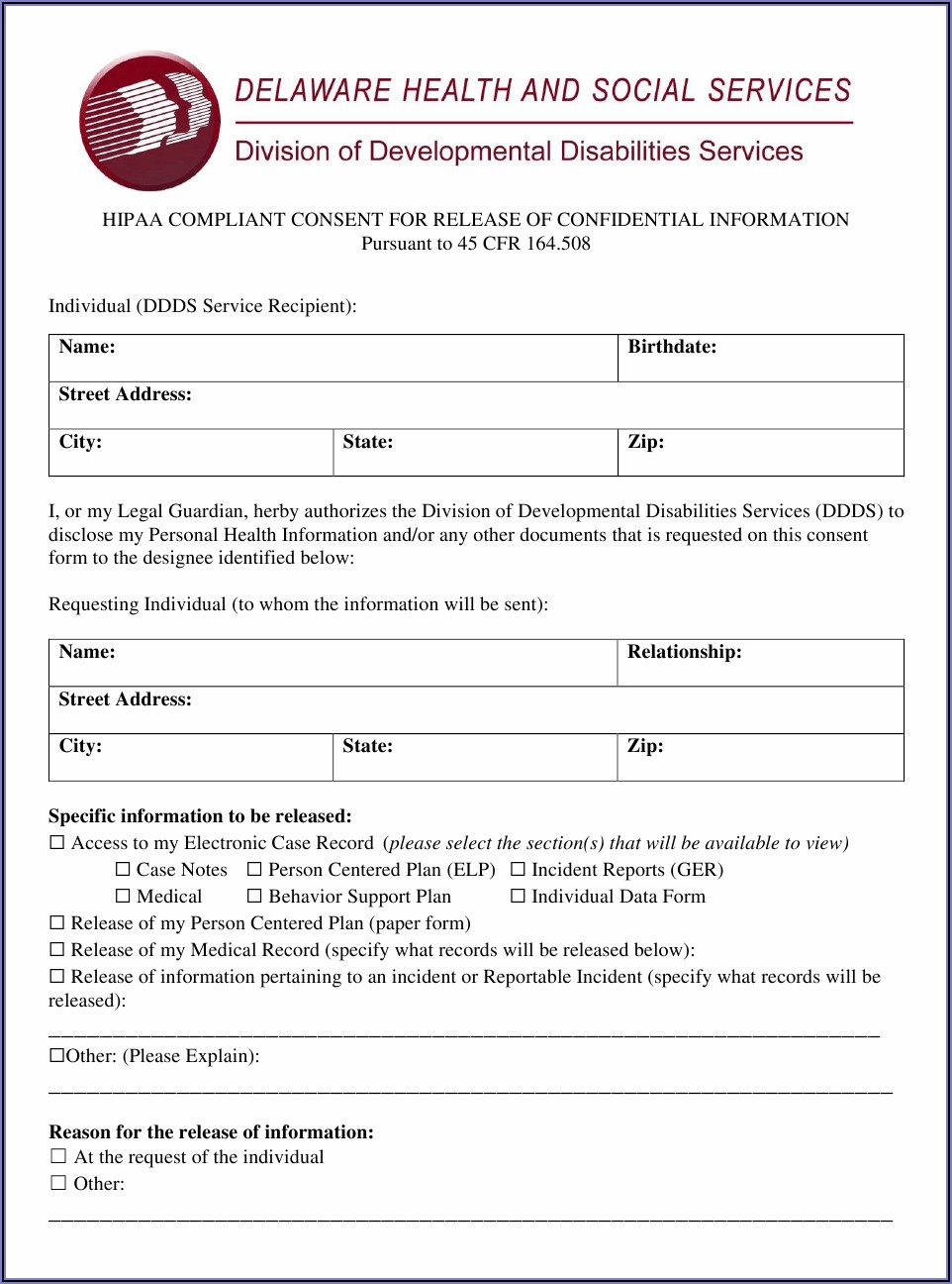 Hipaa Compliant Release Of Information Form