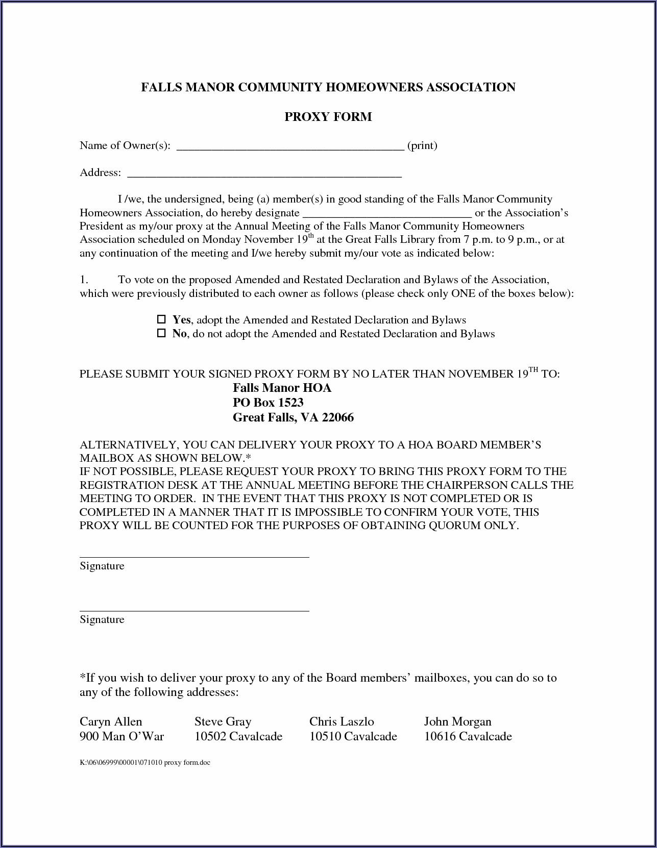 Hoa Proxy Form Template