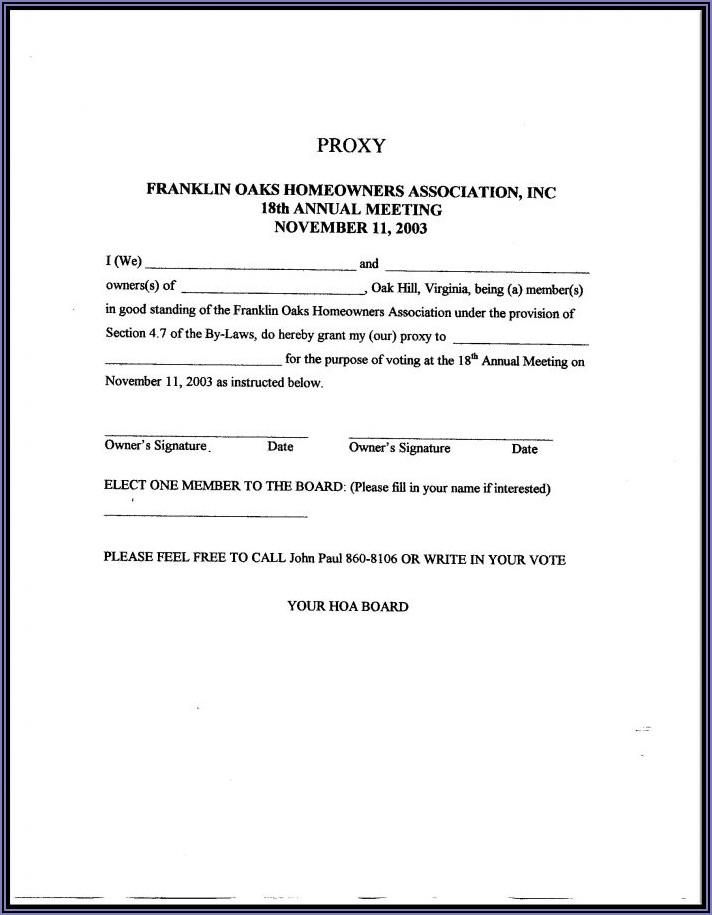 Hoa Proxy Vote Form Template