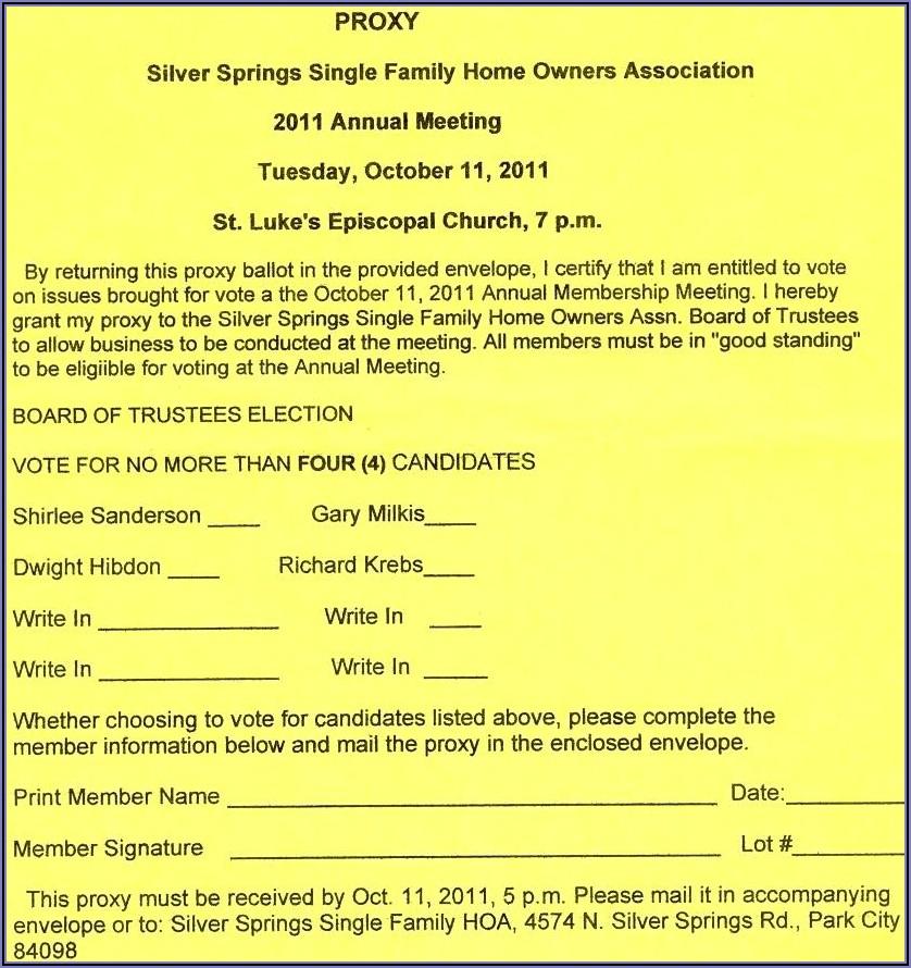 Hoa Proxy Vote Form