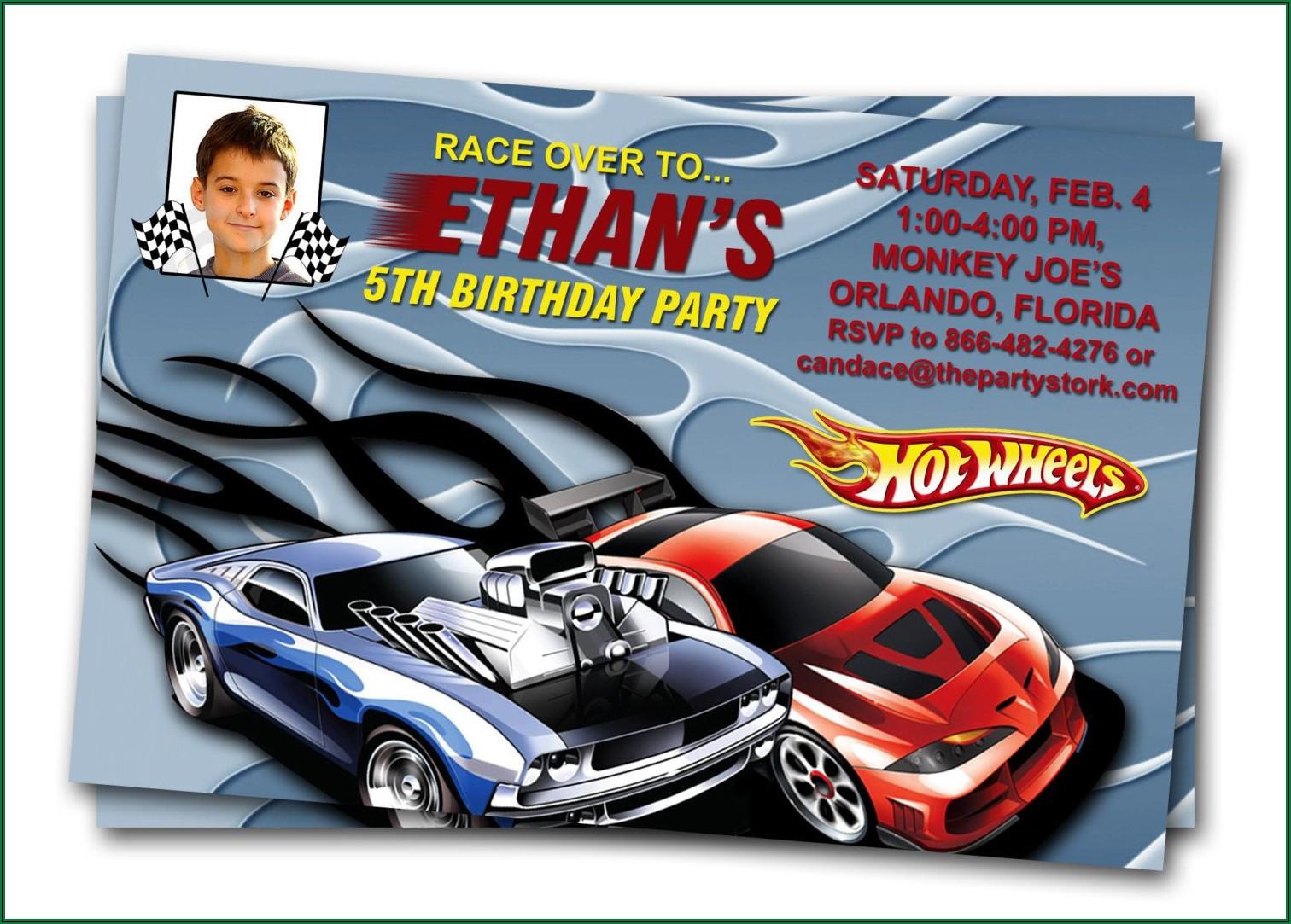 Hot Wheels Birthday Invitation Wording