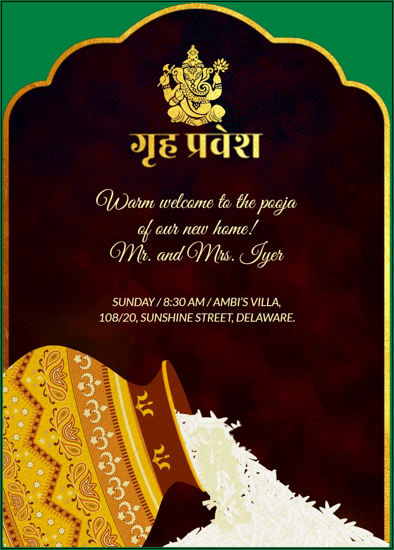 Housewarming Invitation Format India