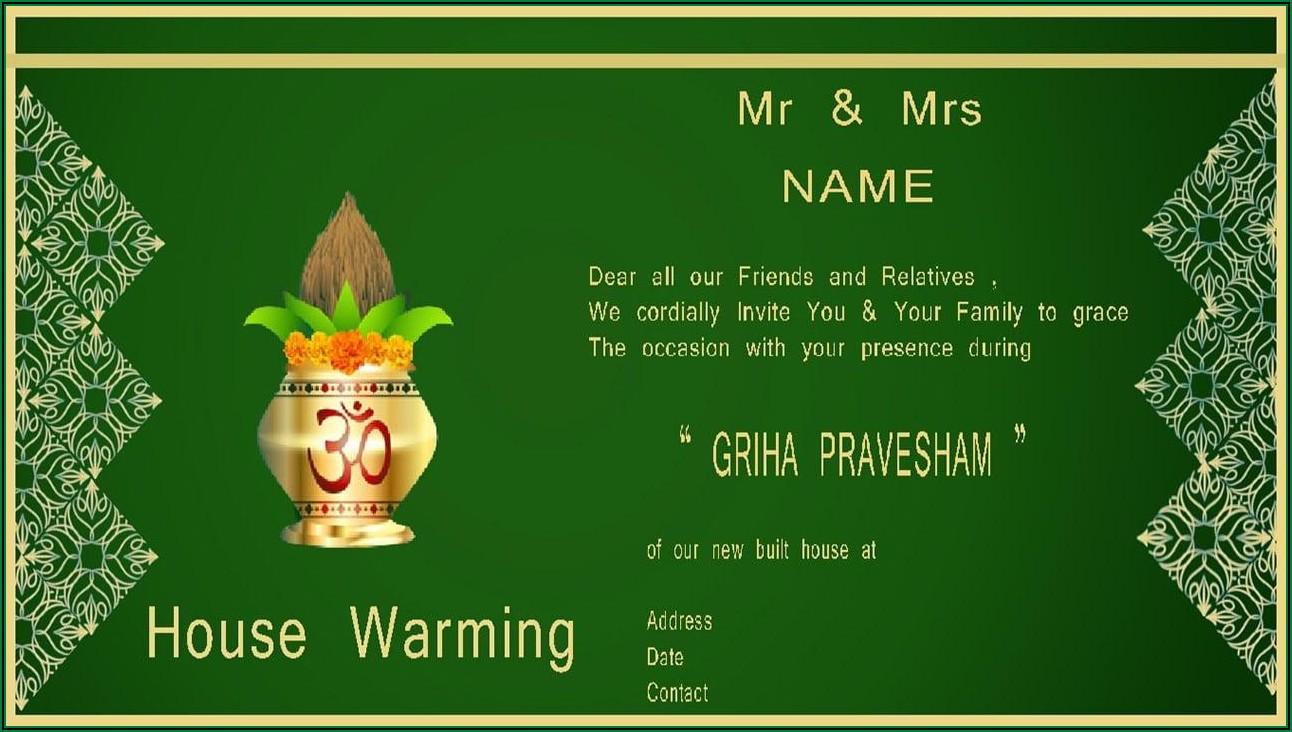 Housewarming Invitation Template India Free