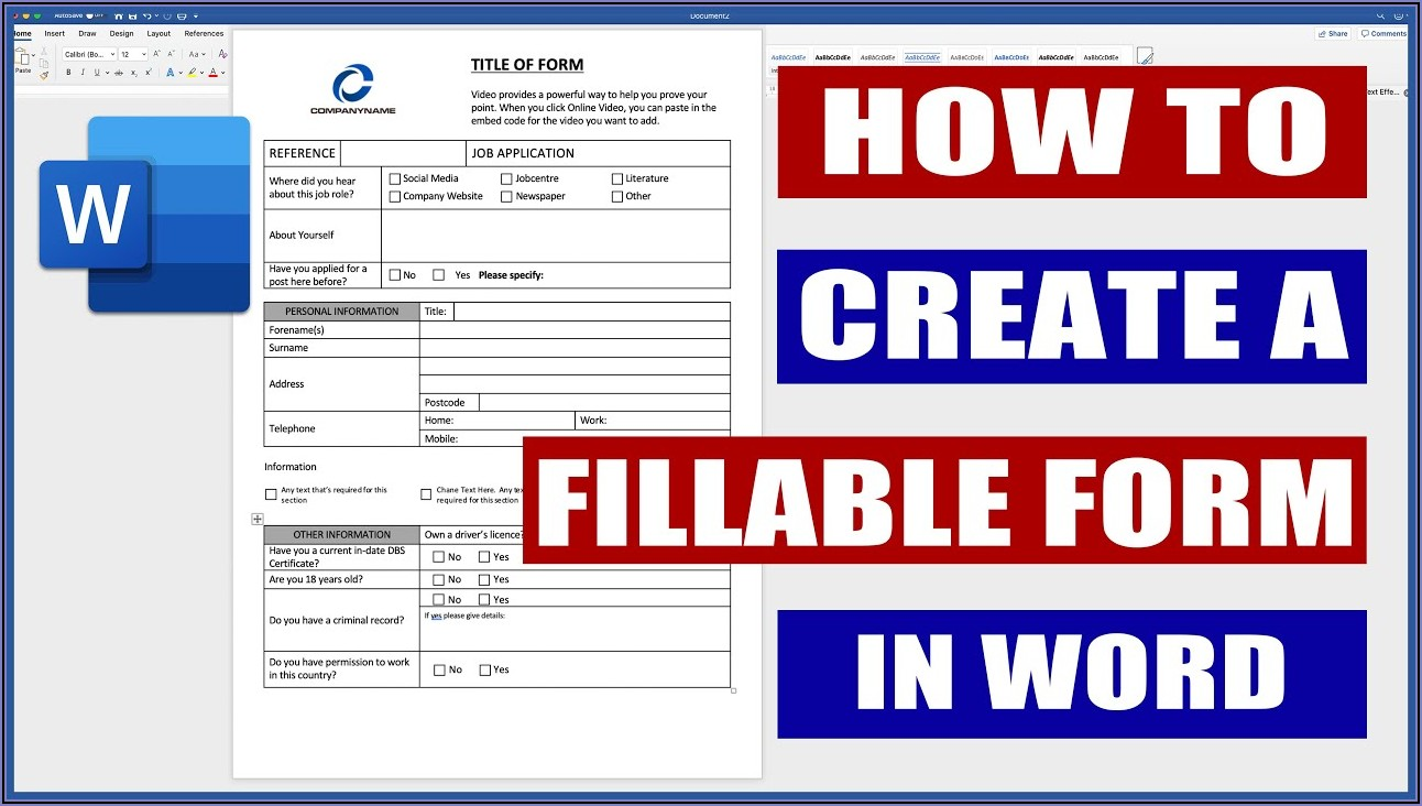 How To Create An Editable Pdf Form In Word