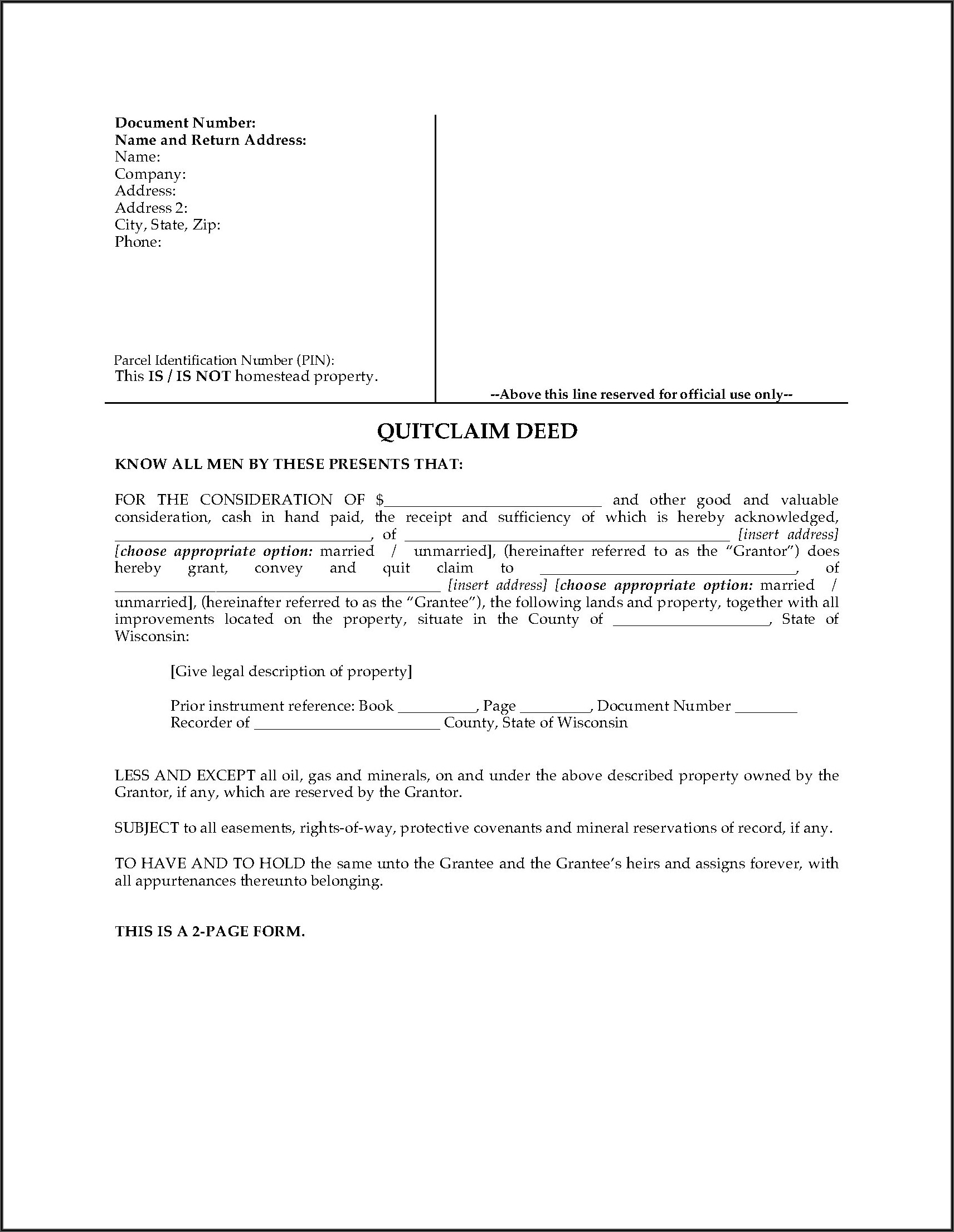 How To Fill Out A Quit Claim Deed Form In Wisconsin