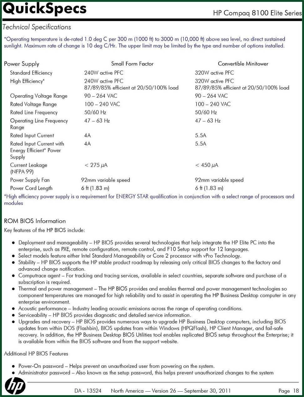 Hp Compaq 8100 Elite Small Form Factor Pc Quickspecs
