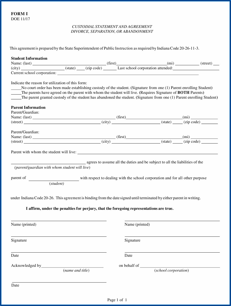 Indiana Legal Separation Papers