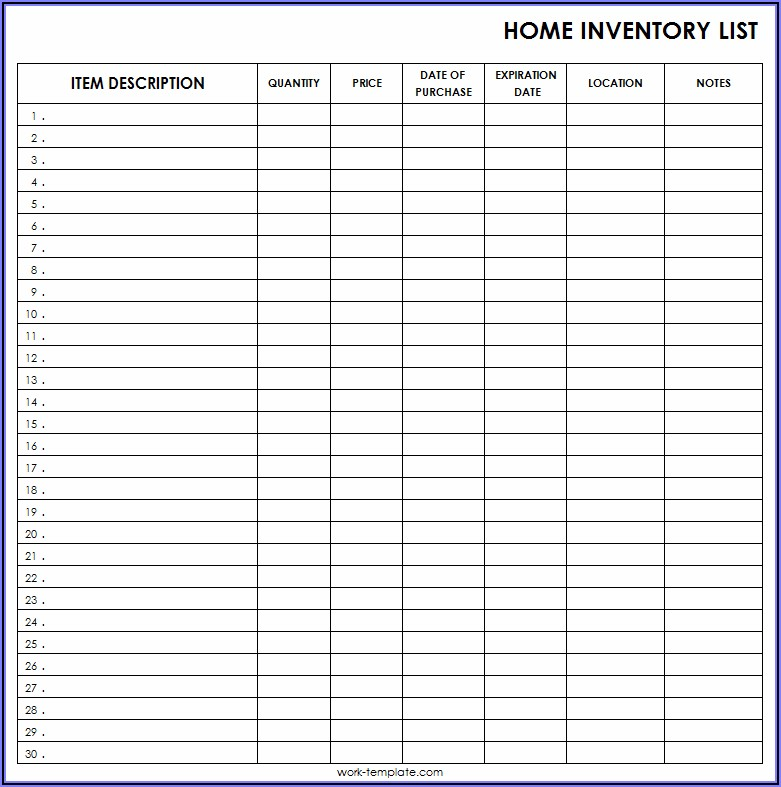 Inventory List Format Excel