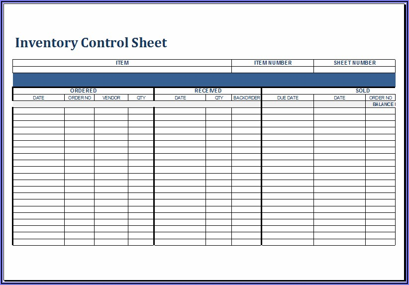Inventory Sheet Template Excel