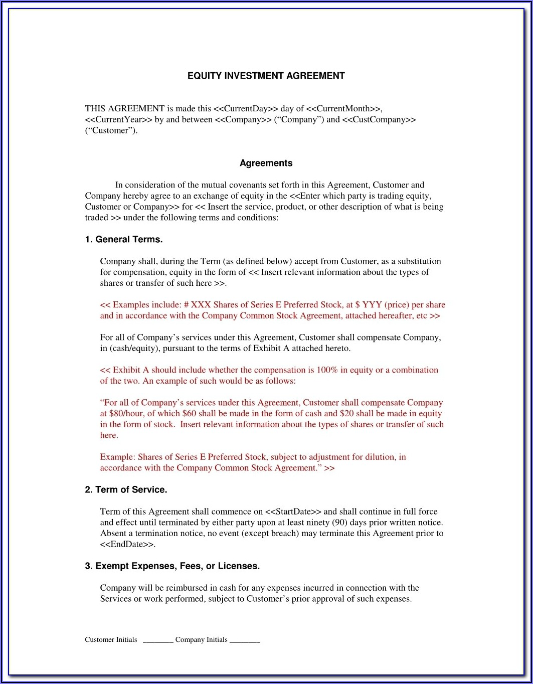 Investor Contract Template Pdf