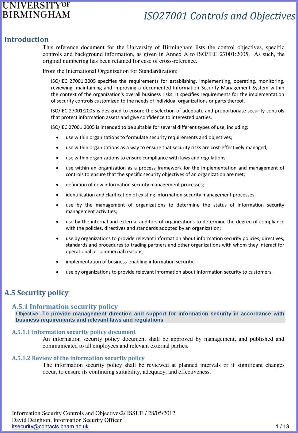 Iso 27001 Information Security Policy Template Pdf