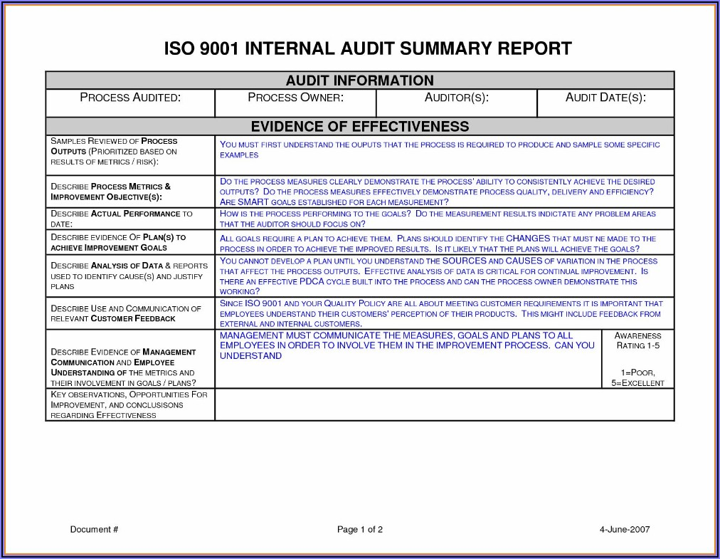 Iso 9001 Audit Report Example