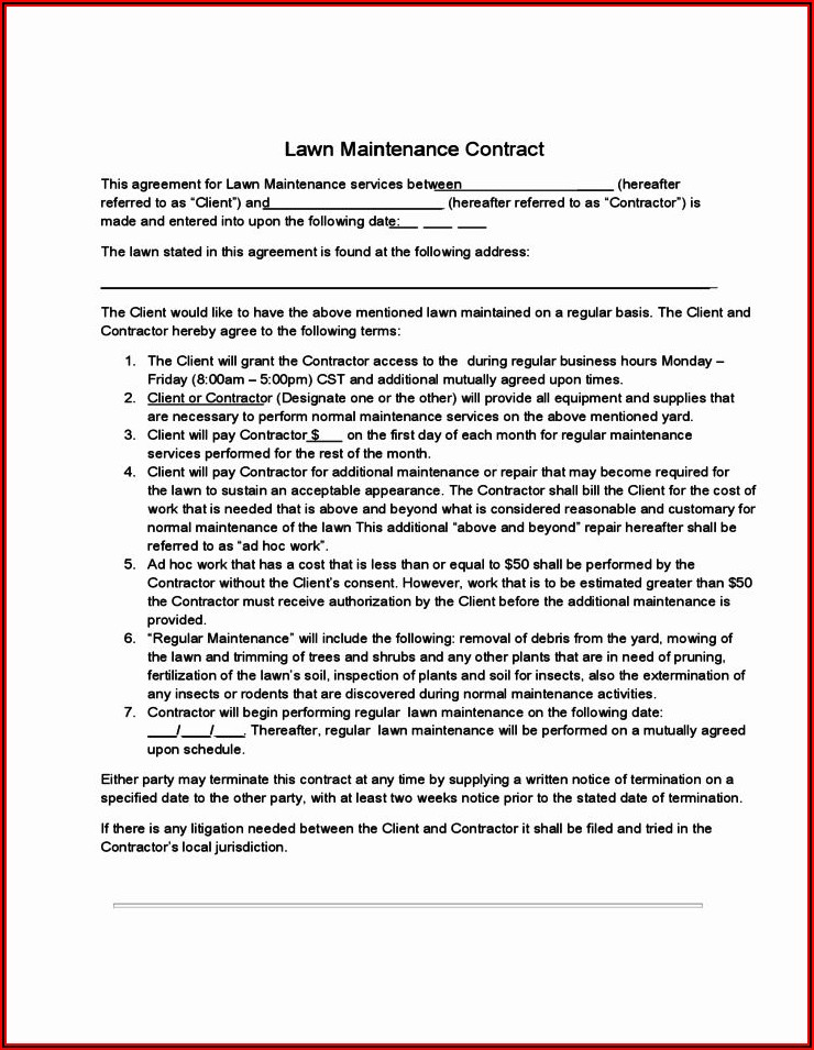 Lawn Care Contracts Templates