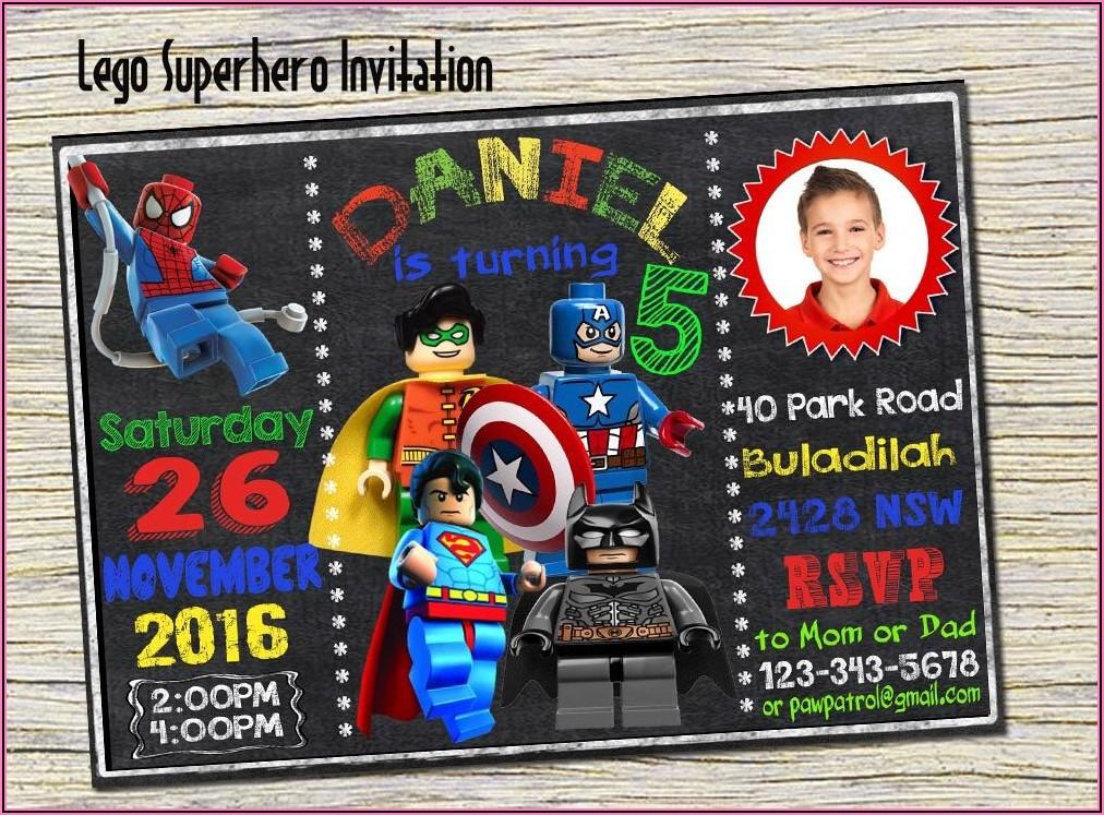 Lego Avengers Birthday Invitations