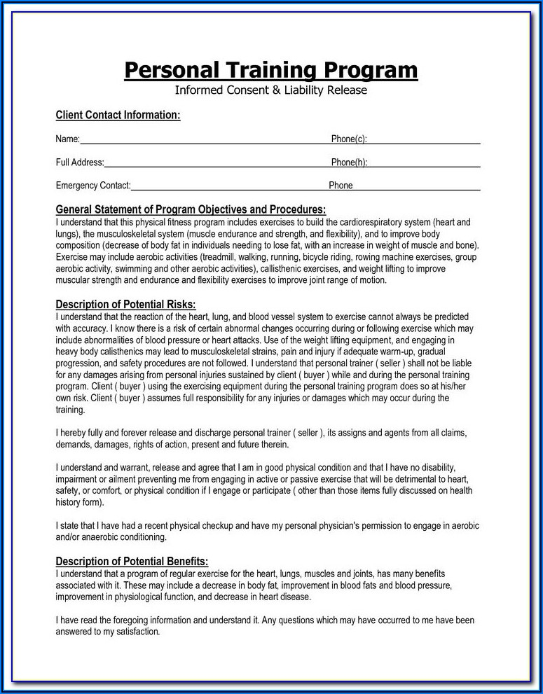 Liability Waiver For Personal Training