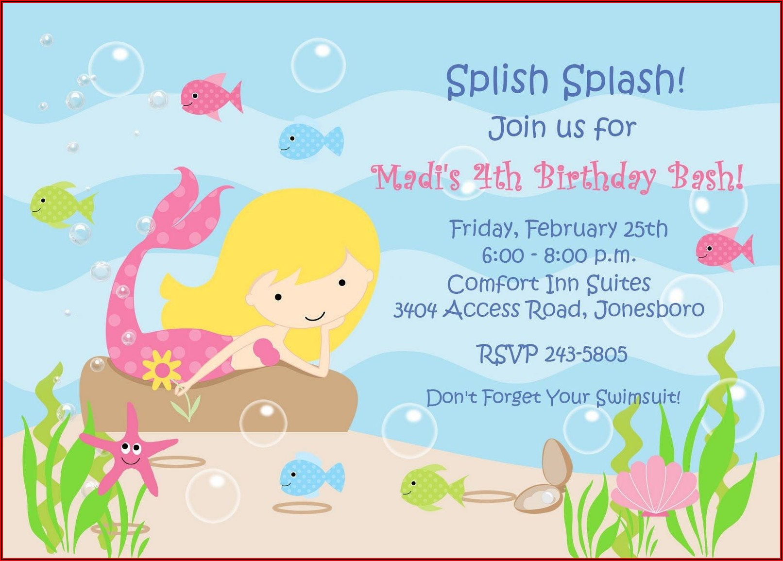Little Mermaid Party Invitations Templates