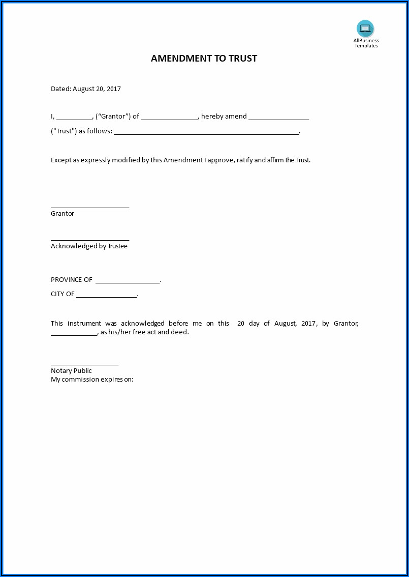 Living Trust Amendment Form Arizona