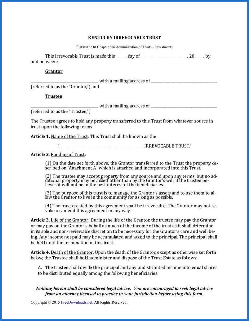 Living Trust Amendment Form
