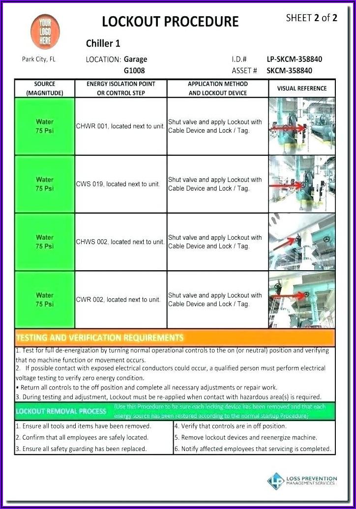 Lockout Tagout Log Sheet