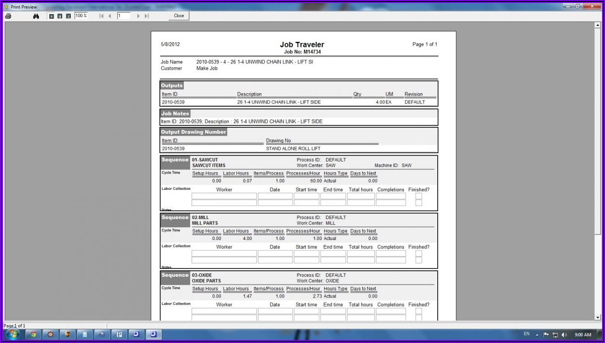 Manufacturing Traveler Template Excel