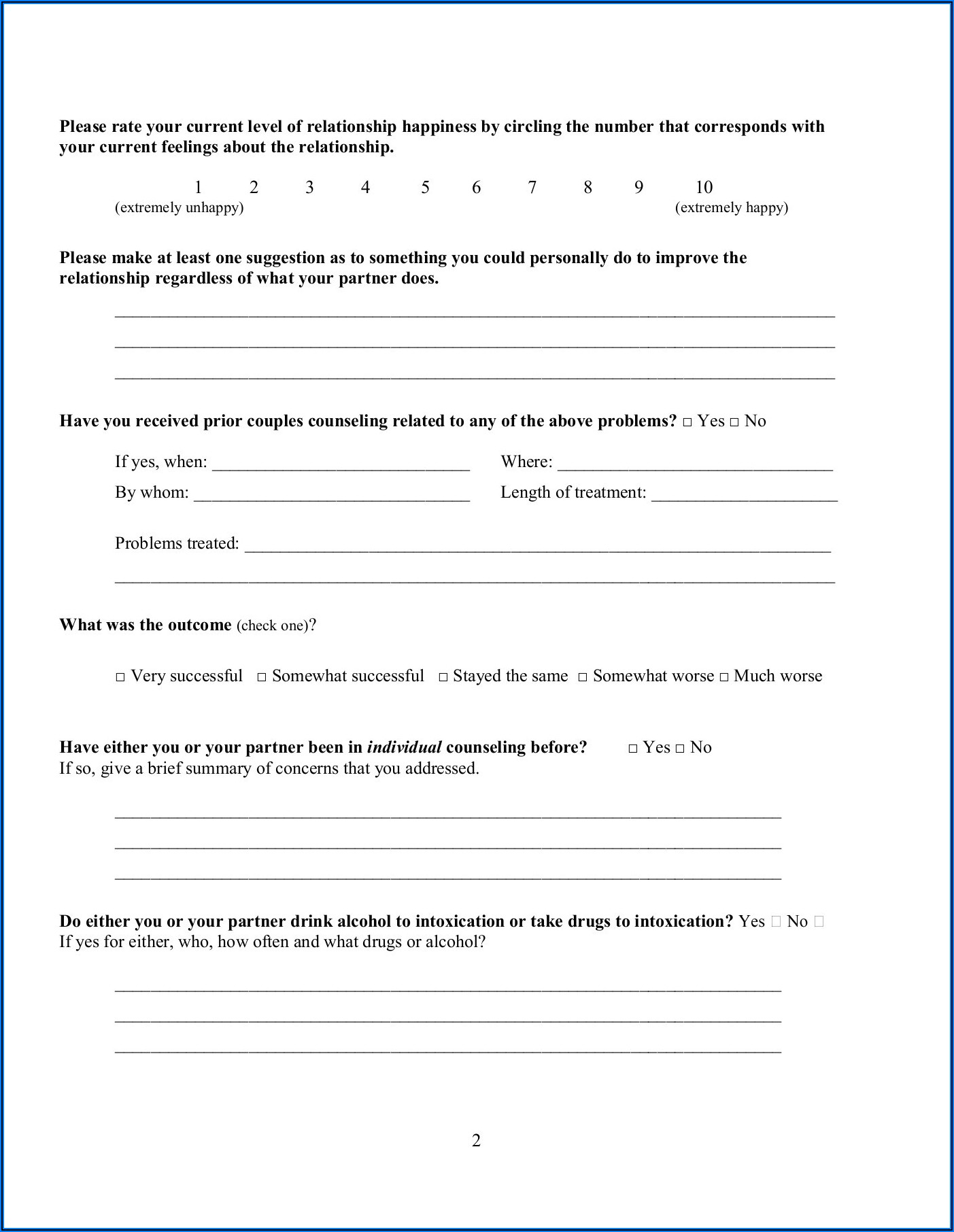 Marriage Counseling Intake Form