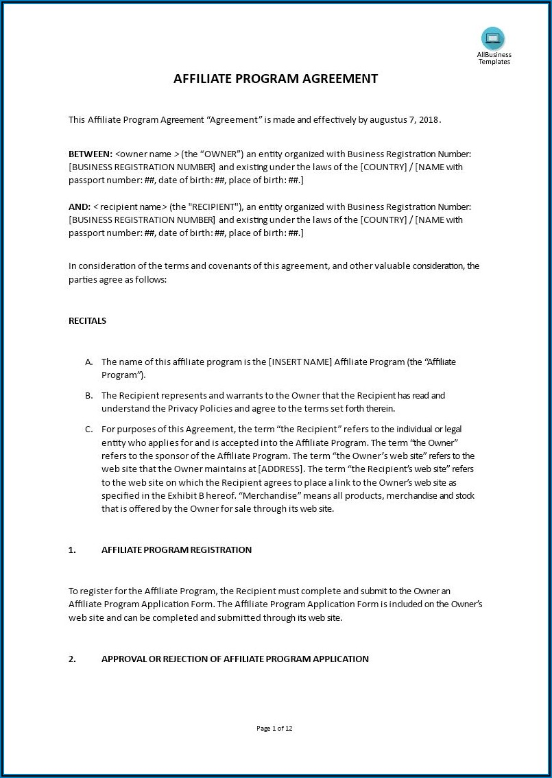 Martial Arts Contract Template