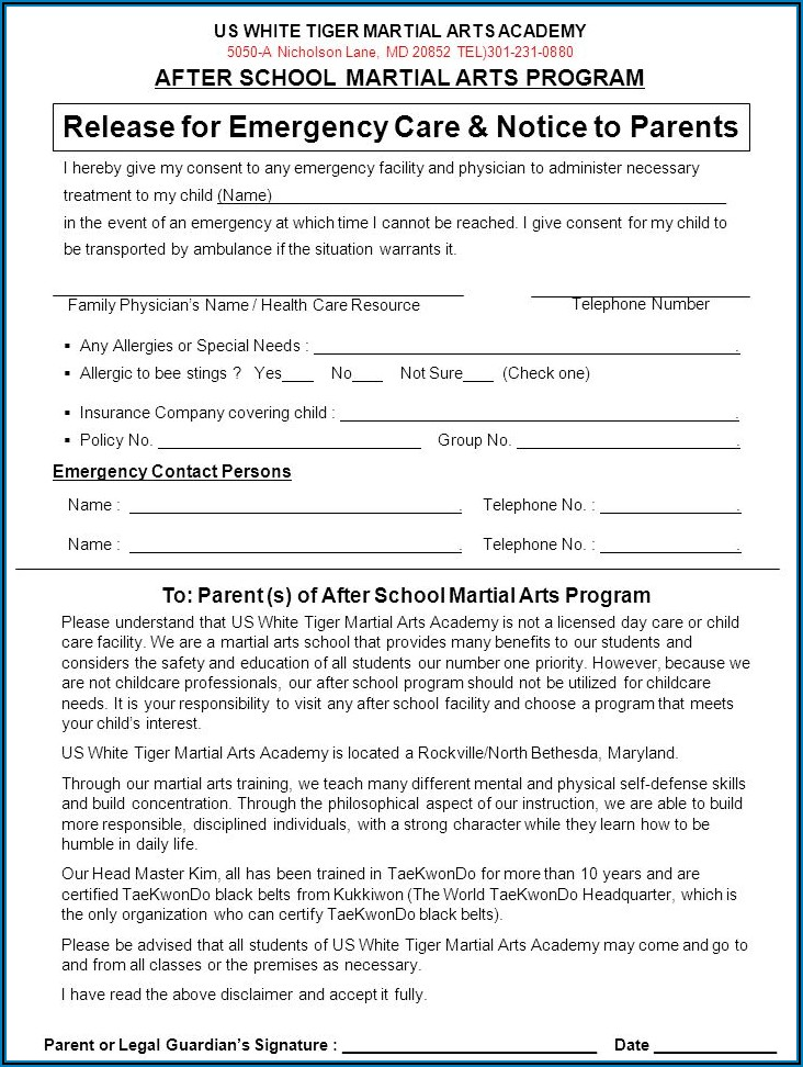 Martial Arts School Contract Template
