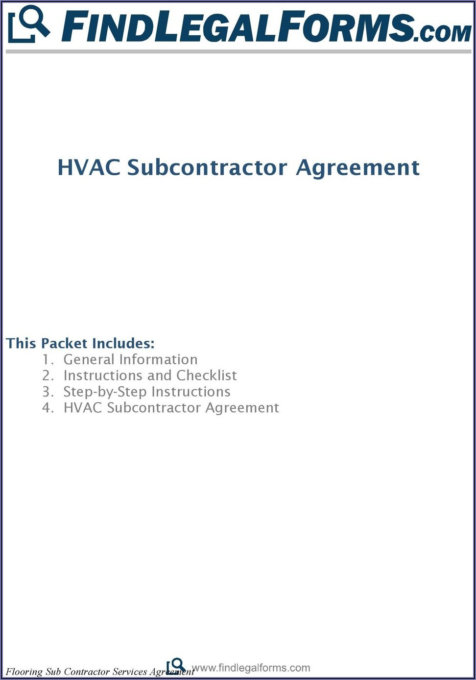 Master Subcontractor Agreement Short Form