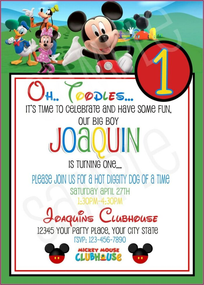 Mickey Mouse Clubhouse First Birthday Invitations