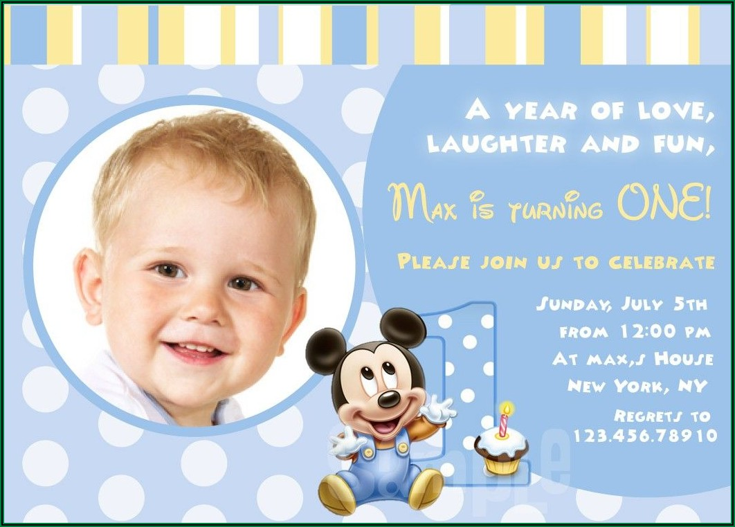 Mickey Mouse First Birthday Invitation Wording