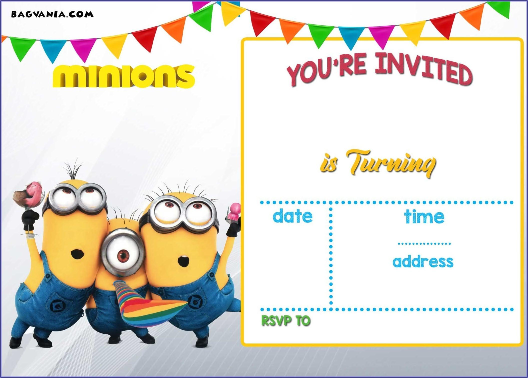 Minion Birthday Invites Free