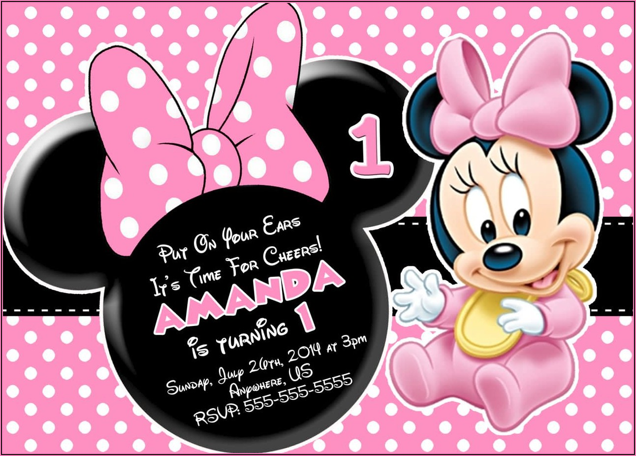 Minnie Mouse 1st Birthday Invitation Ticket